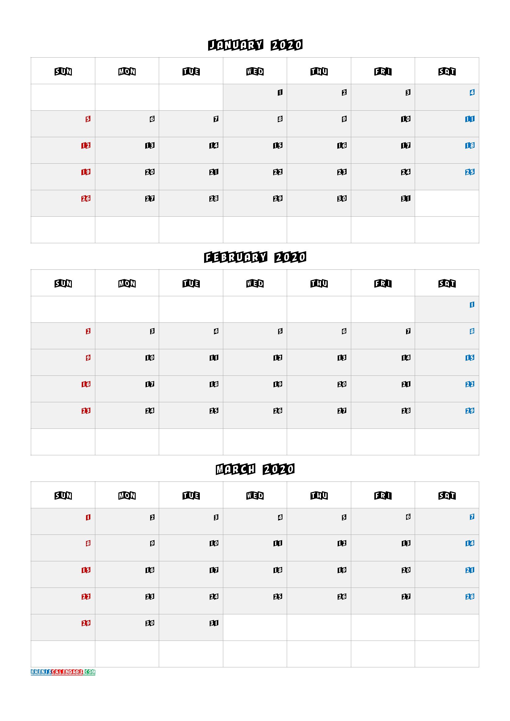 January February March Calendar In November December January February March Calendars