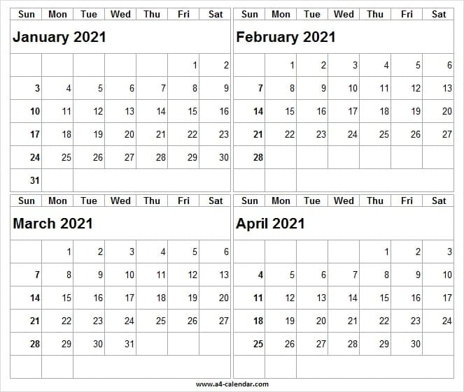January To April 2021 Calendar Word – A4 Calendar For January February March April 2021 Calendar