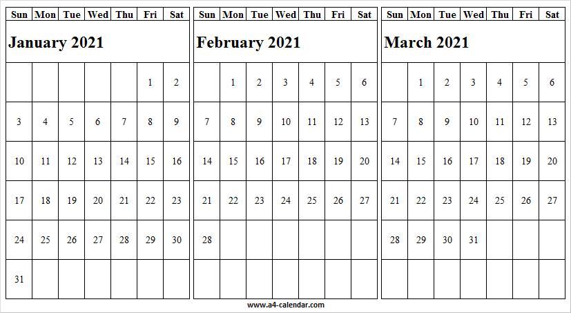 January To March 2021 Calendar Blank – A4 Calendar Pertaining To January February March April 2021 Calendar