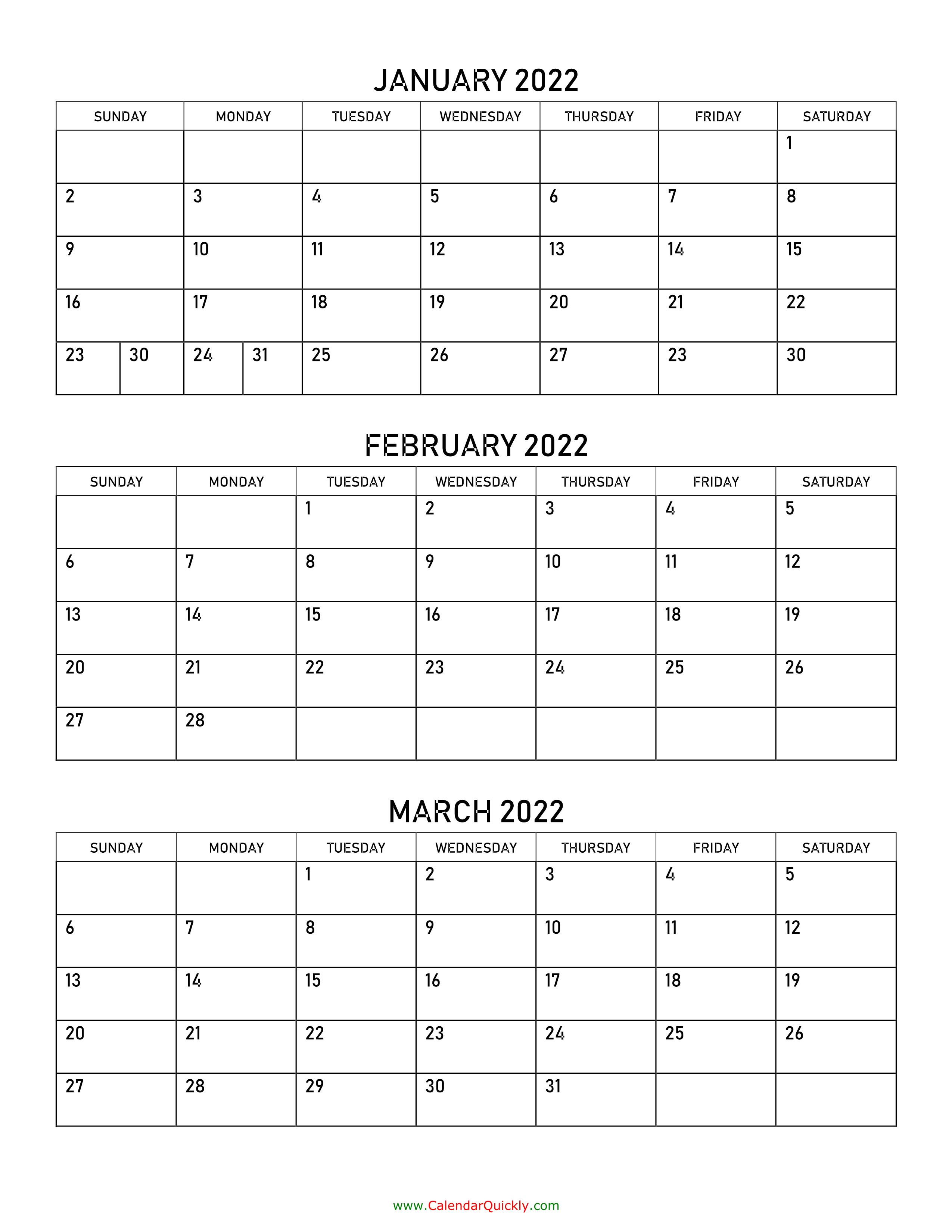 January To March 2022 Calendar | Calendar Quickly With Regard To March April 2022 Calendar Print