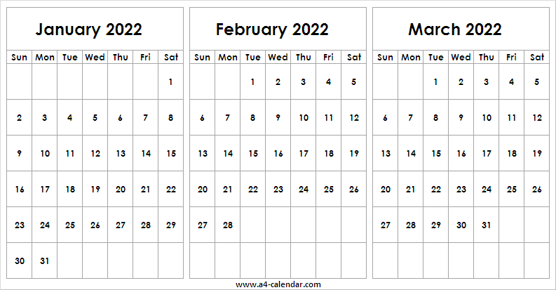January To March 2022 Calendar Printable - Calendar Jan With January 2022 Printable Calendar Cute