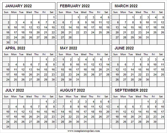 January To September 2022 Printable Calendar | Editable Throughout Free Printable Calendar Templates January 2022