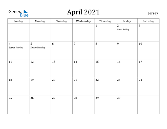 Jersey April 2021 Calendar With Holidays for January February March April May 2021
