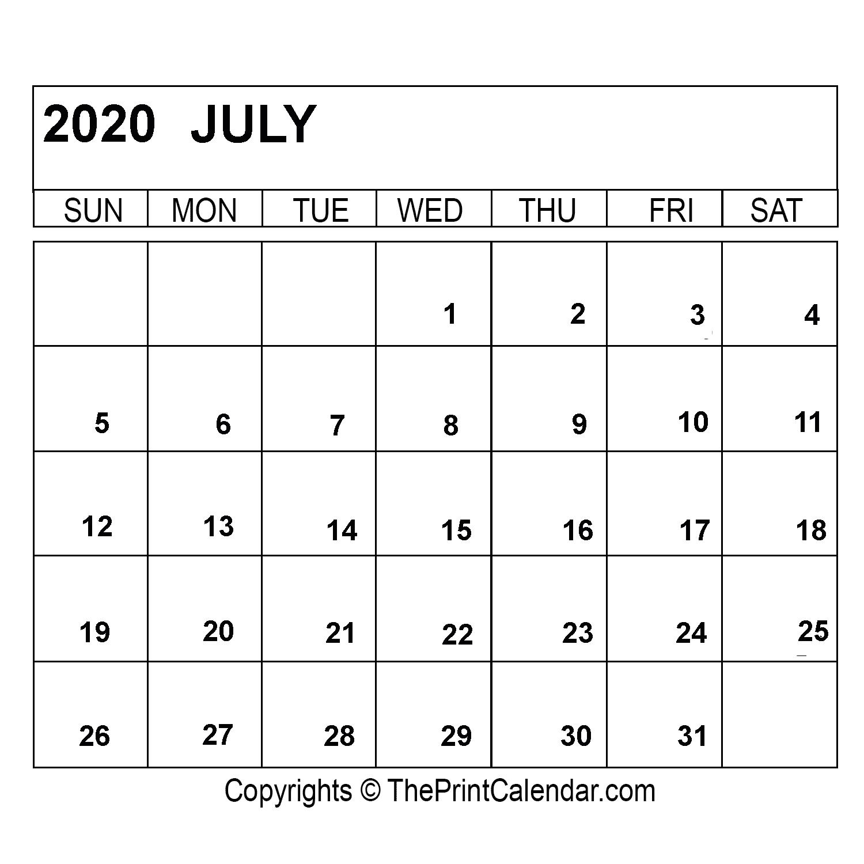 July 2020 Printable Calendar Template [Pdf, Word & Excel] inside Print Calendar January 2022 Fillable Lines