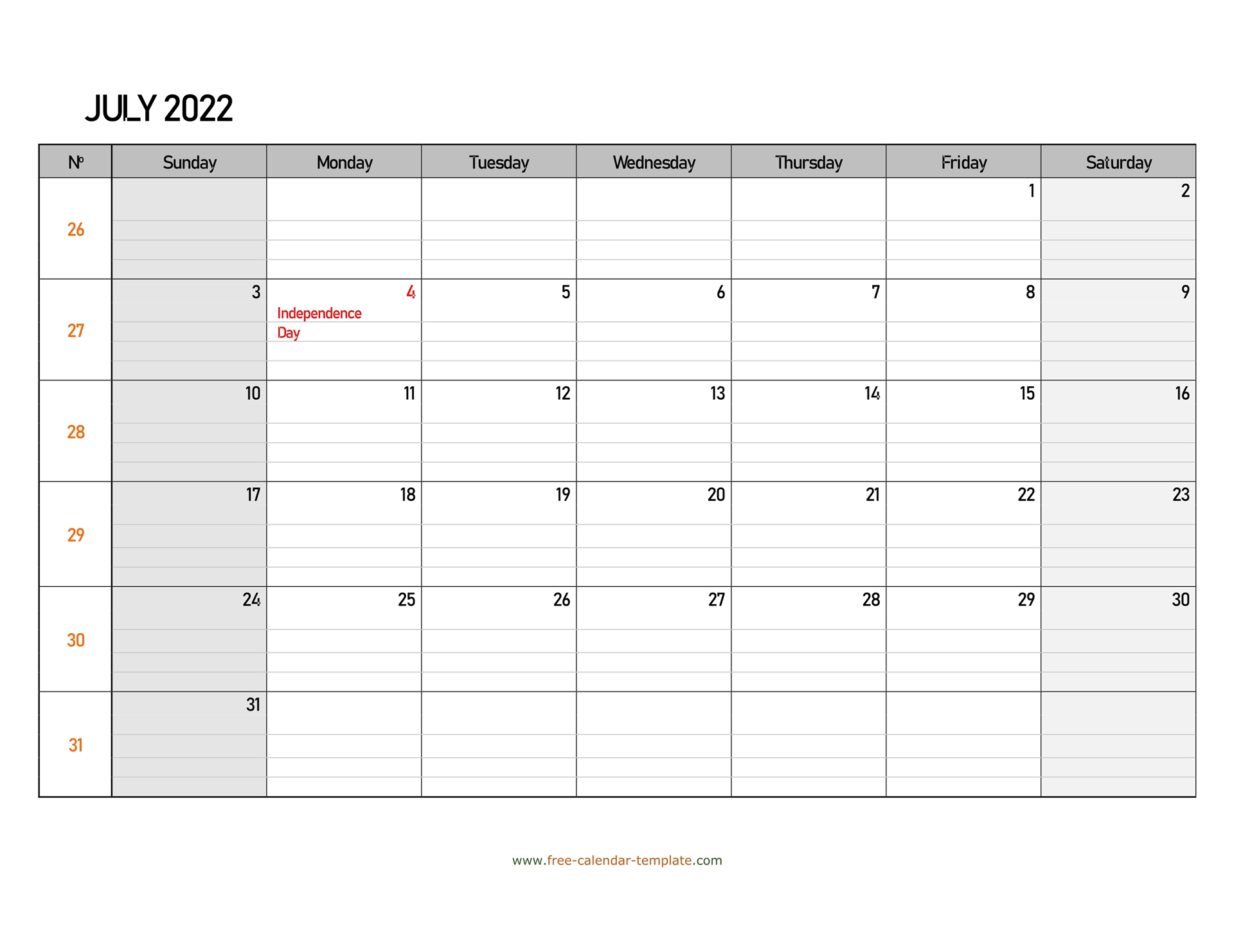 July 2022 Calendar Free Printable With Grid Lines Designed Inside Print Calendar January 2022 Fillable Lines