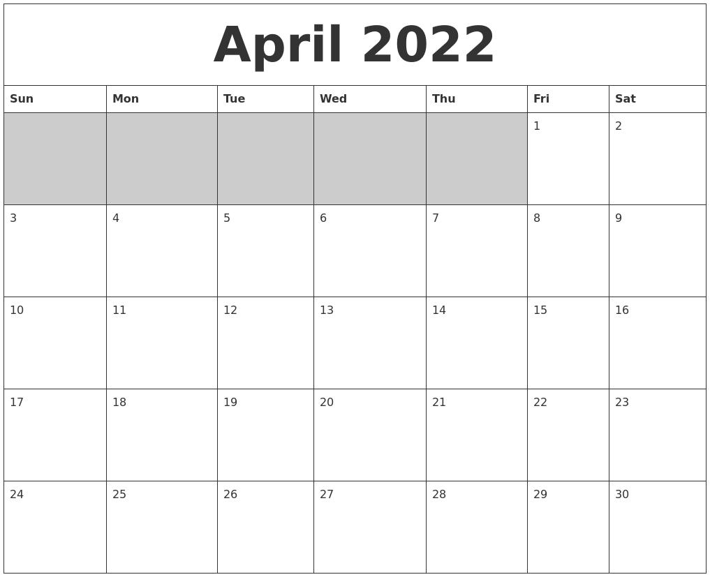 July 2022 Word Calendar Within Blank Calendar April 2022 Printable February