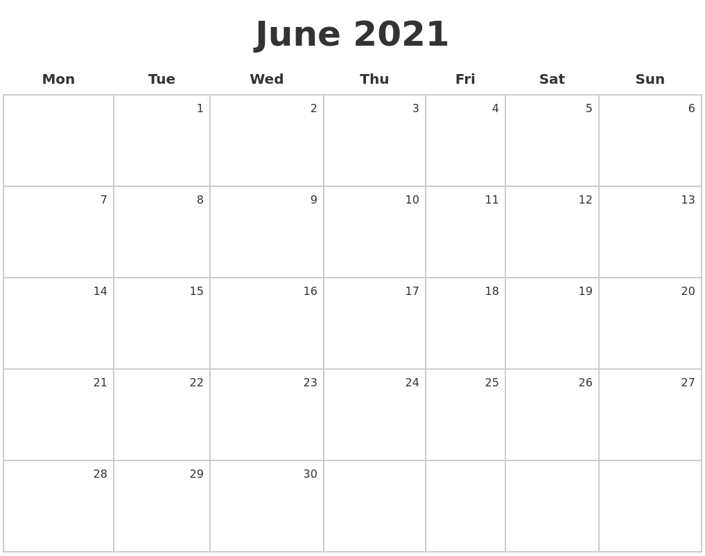 June 2021 Make A Calendar Intended For January February March April May 2021
