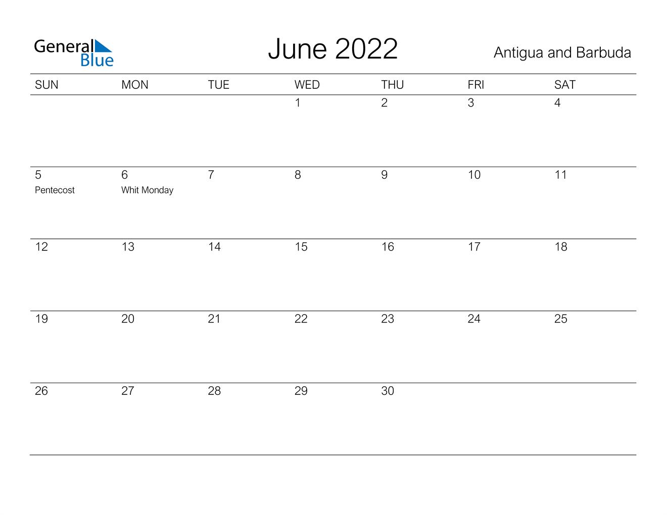 June 2022 Calendar – Antigua And Barbuda In Calendar March April May June 2022