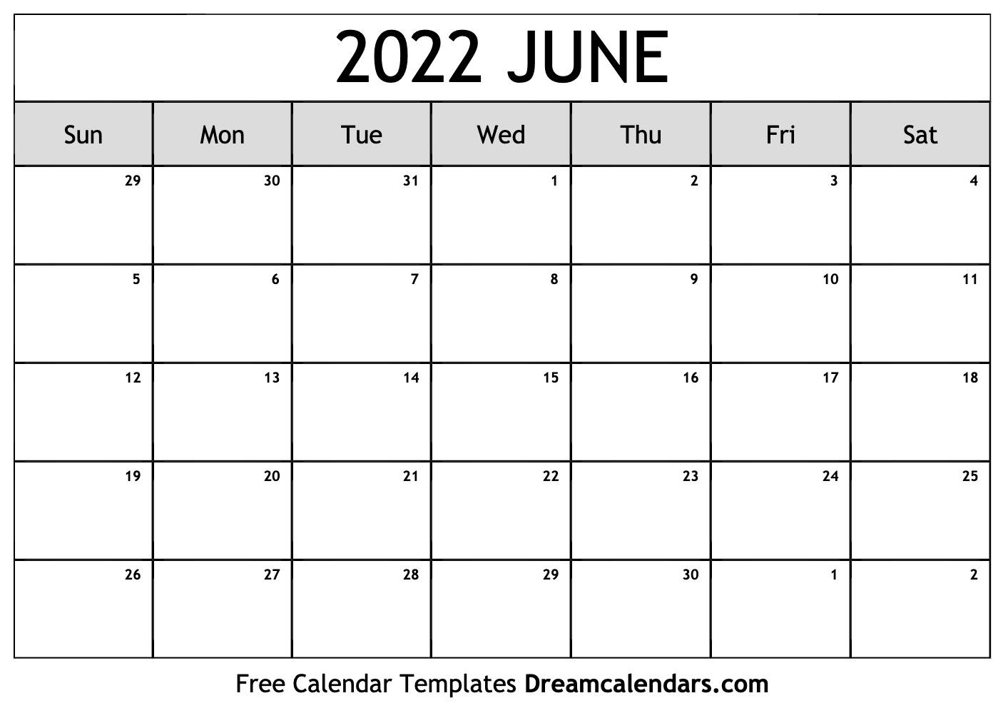 June 2022 Calendar   Free Blank Printable Templates For March April May June Calendar 2022