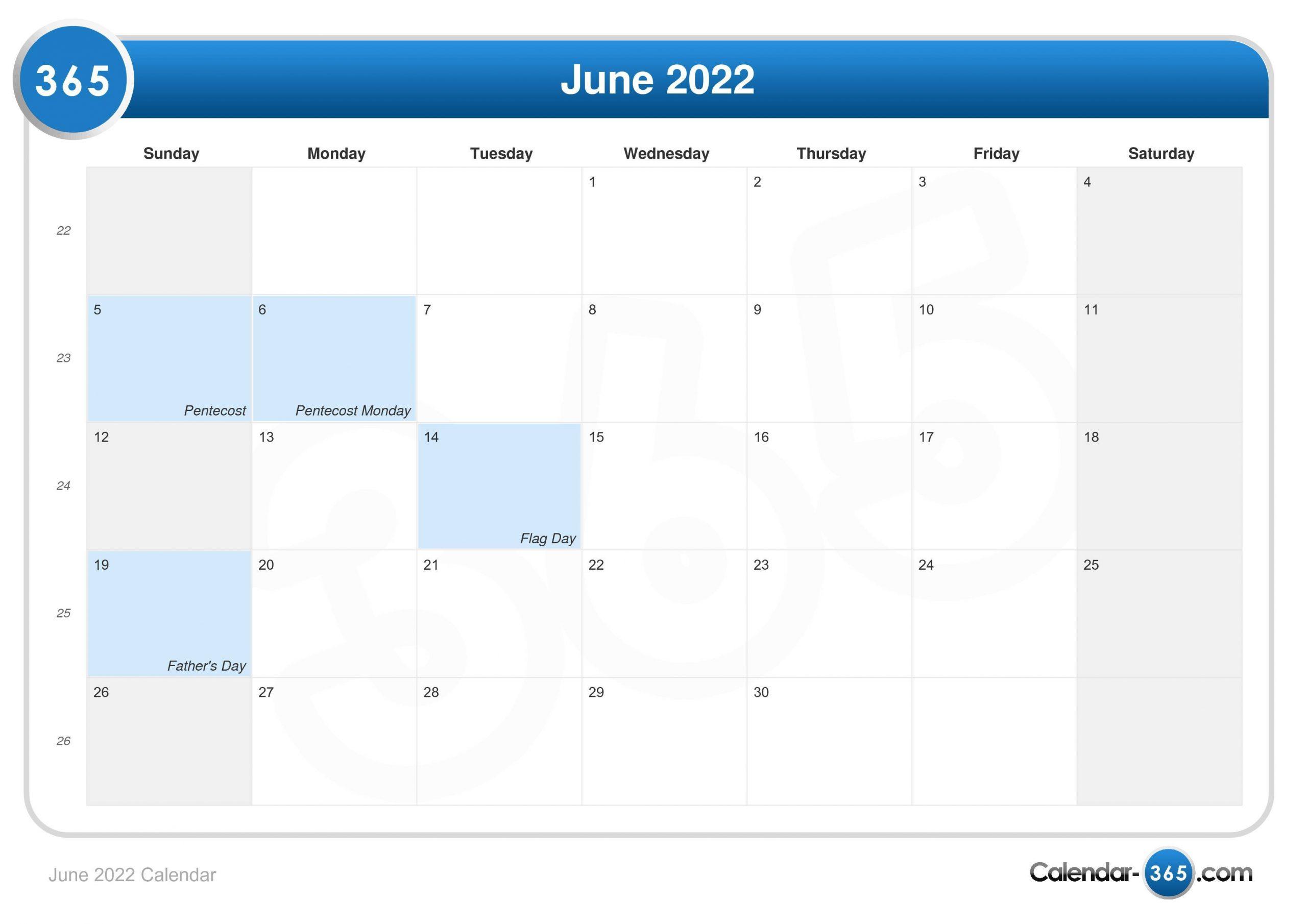 June 2022 Calendar With March April May June Calendar 2022