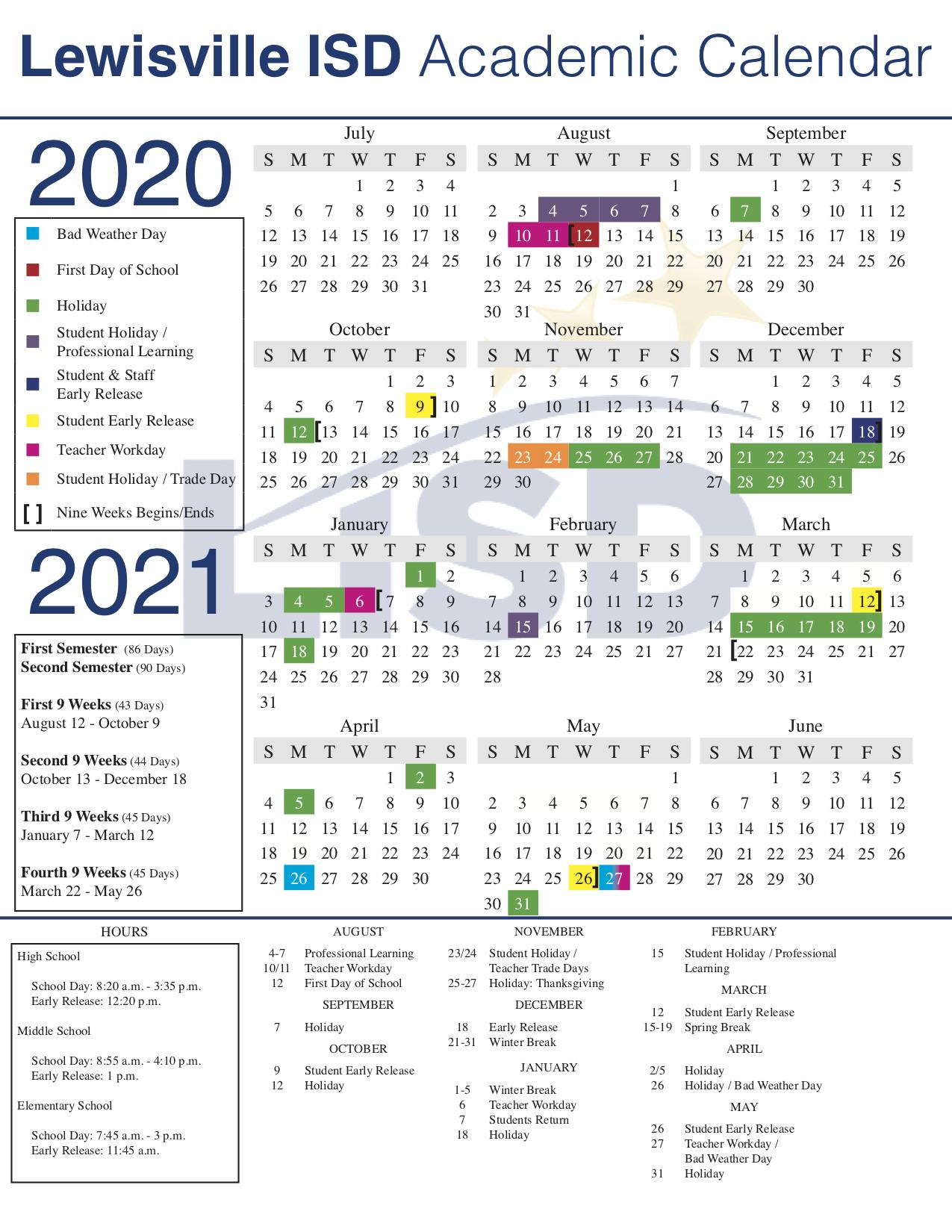 Lisd Approves 2020 21 Academic Calendar In Downey Unified 2021 Spring Break