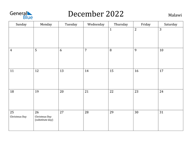 Malawi December 2022 Calendar With Holidays Throughout March April May June Calendar 2022