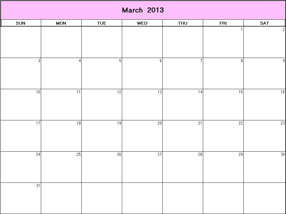 March 2013 Printable Blank Calendar – Calendarprintables With Regard To Calendar With March Filled In