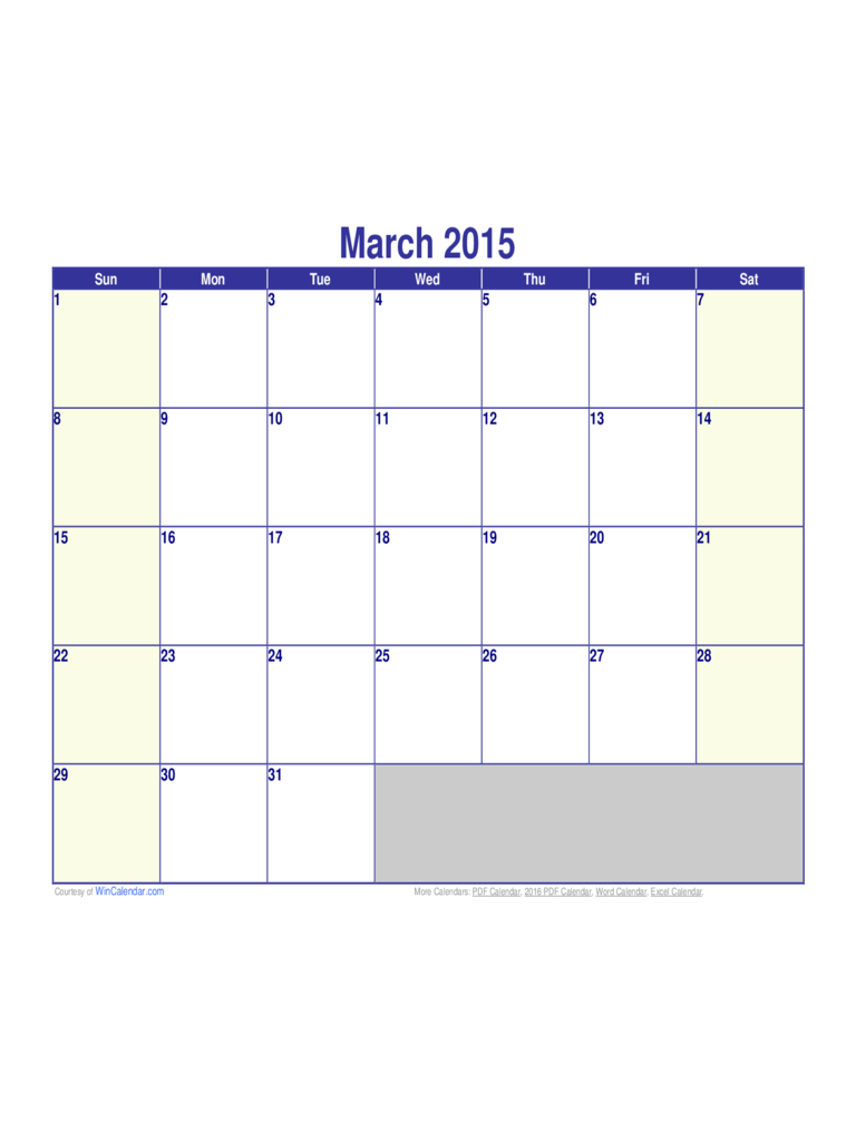 March 2015 Calendar Sample - Edit, Fill, Sign Online Inside Calendar With March Filled In