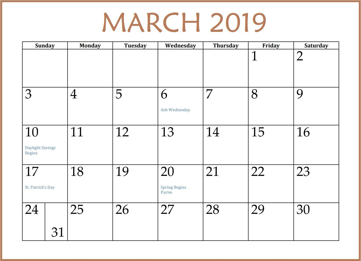 March 2019 Calendar Printable #Marchcalendar # Throughout Calendar With March Filled In