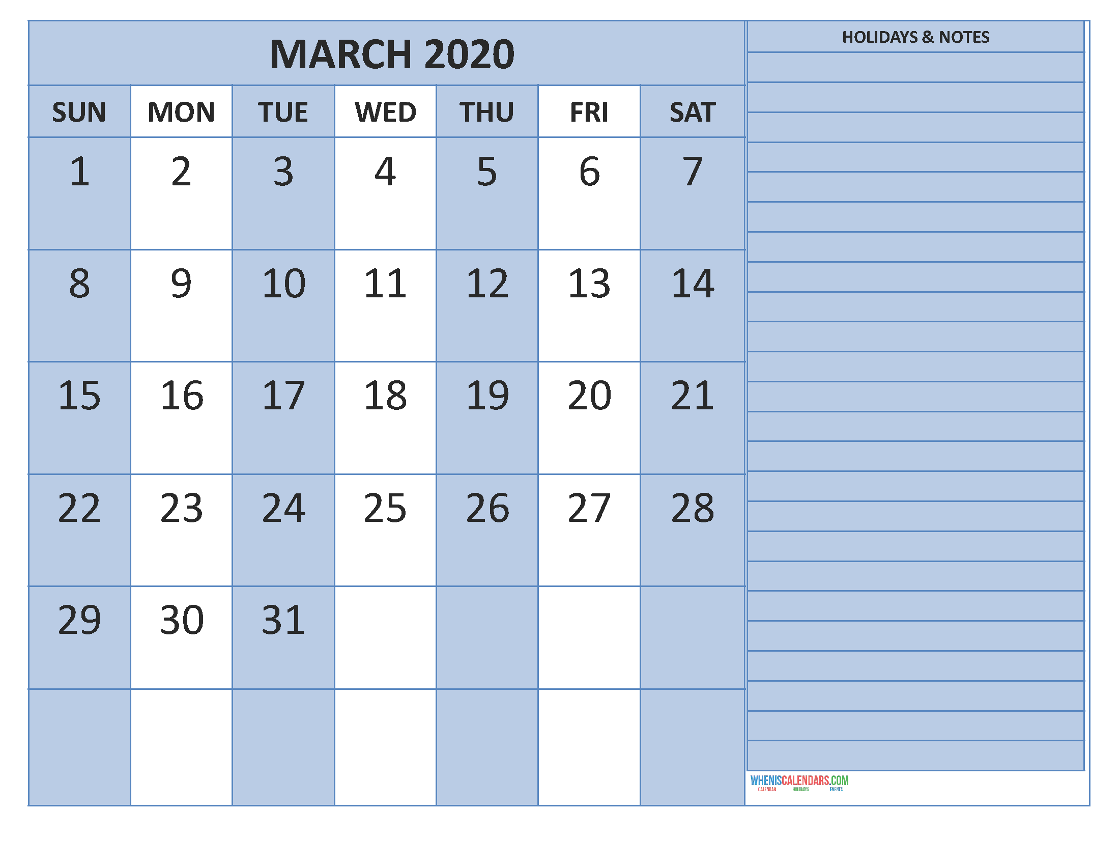 March 2020 Calendar With Holidays Word, Pdf - Free Within March April Calendar Printable