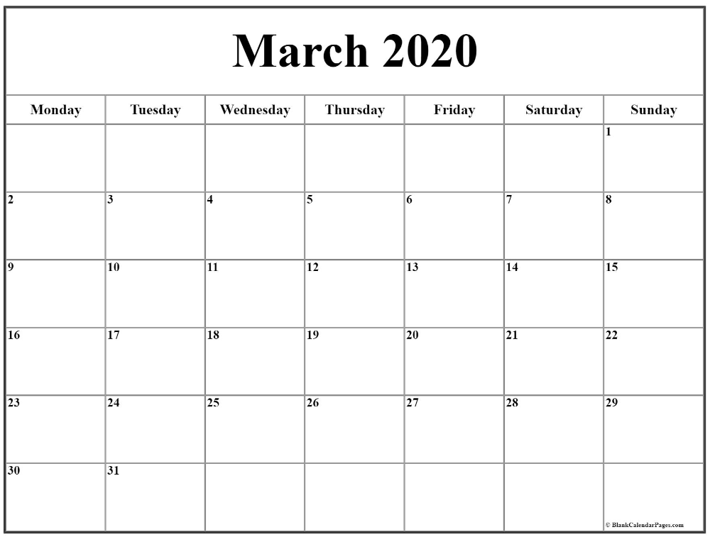 March 2020 Monday Calendar | Monday To Sunday In 2020 Pertaining To Calendar With March Filled In