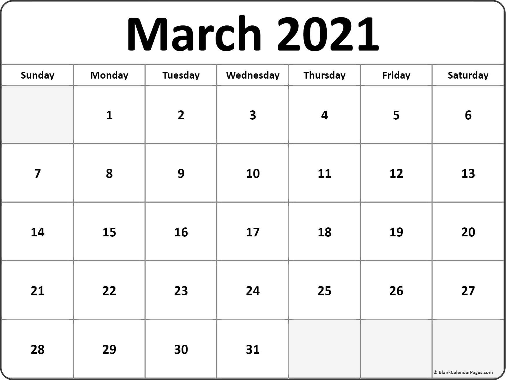 March 2021 Blank Calendar Collection. Throughout January February March April May 2021