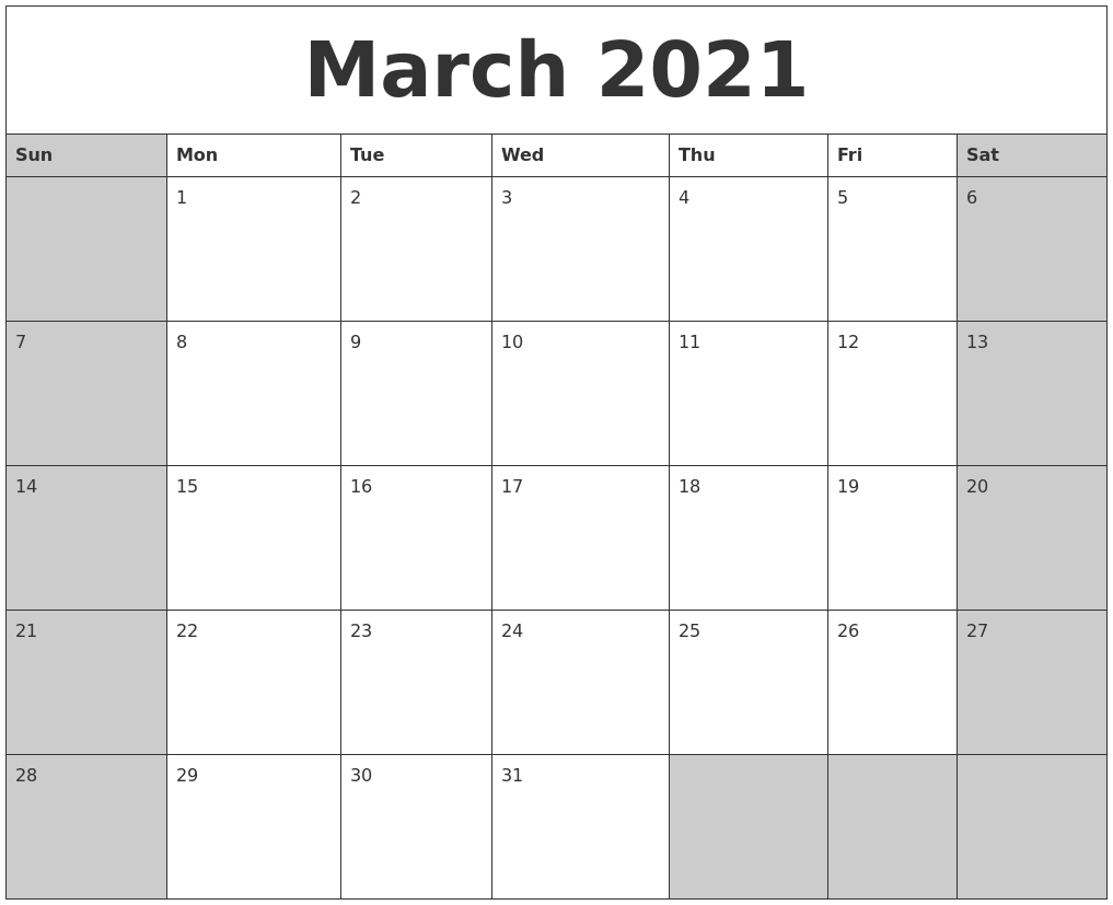 March 2021 Calanders For January February March April May 2021