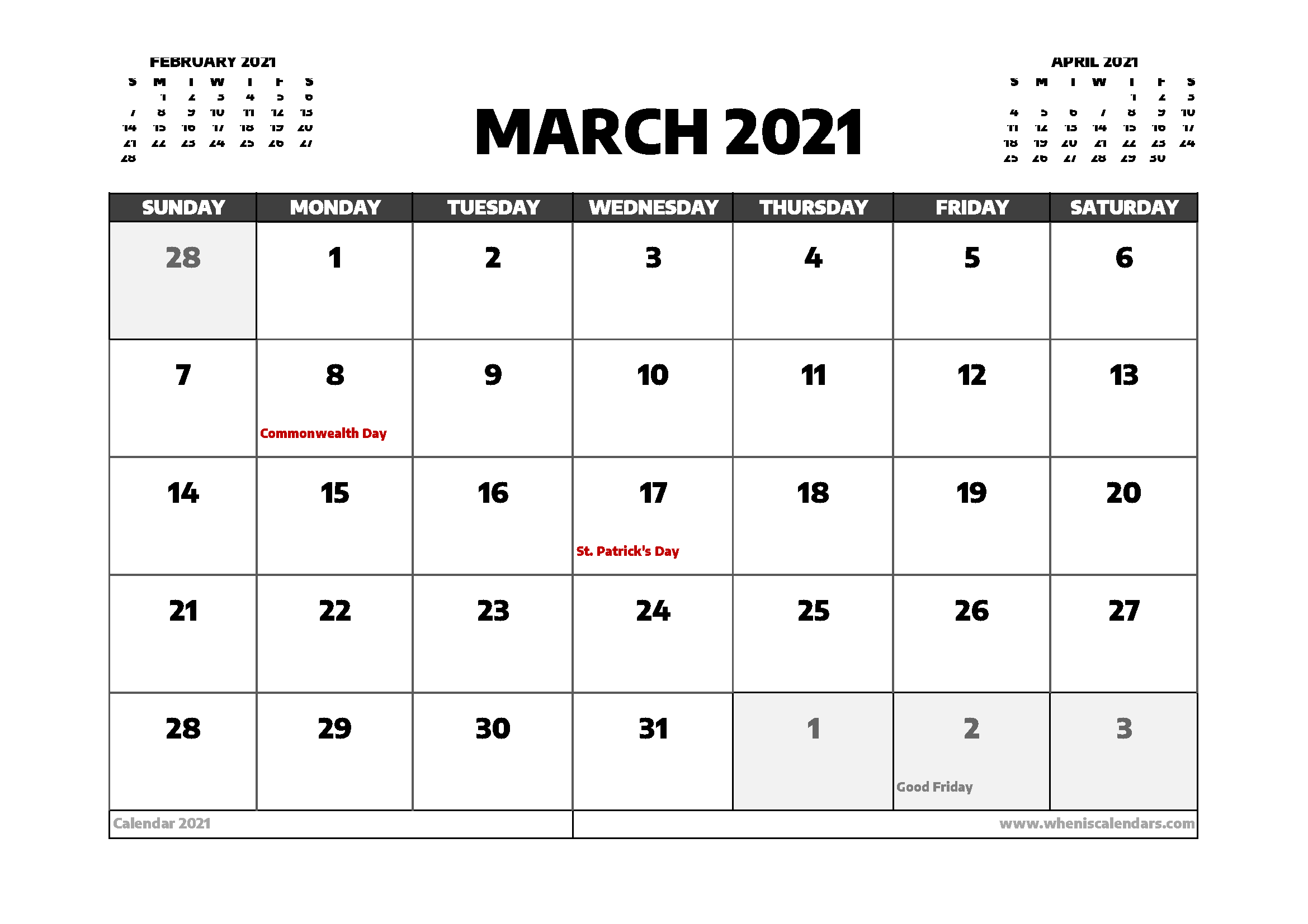 March 2021 Calendar Canada With Holidays For March Holidays 2021 Calendars
