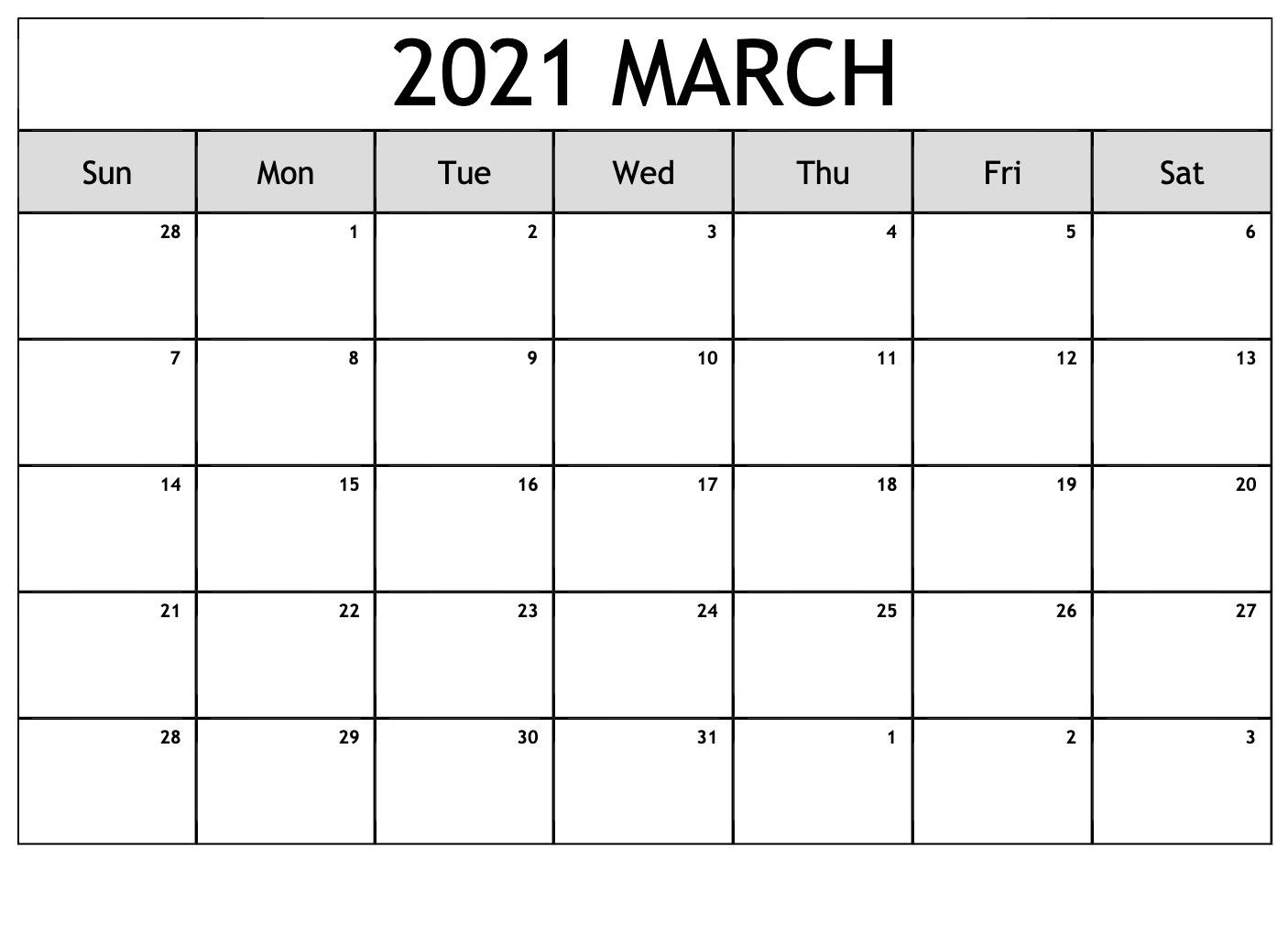 March 2021 Calendar Cute Pdf Template – Free Printable Inside March 2021 Calendar Images