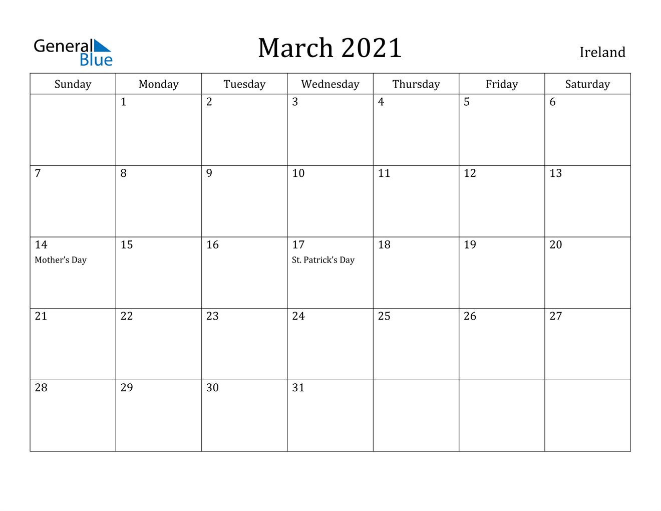 March 2021 Calendar – Ireland For March Holidays 2021 Calendars