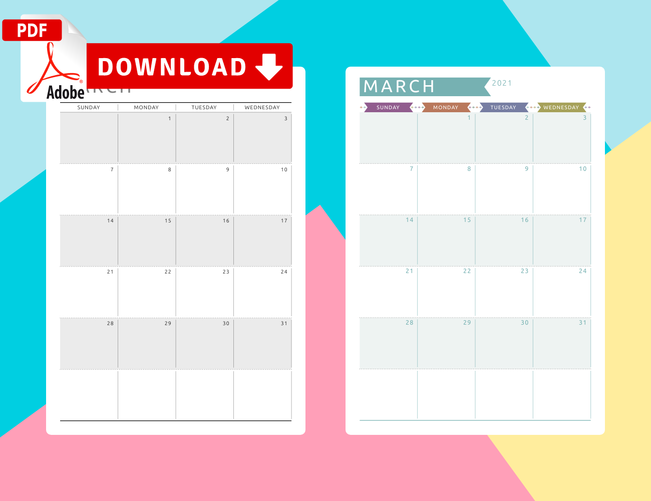 March 2021 Calendar Templates – Download Pdf Intended For March 2021 Calendar Template