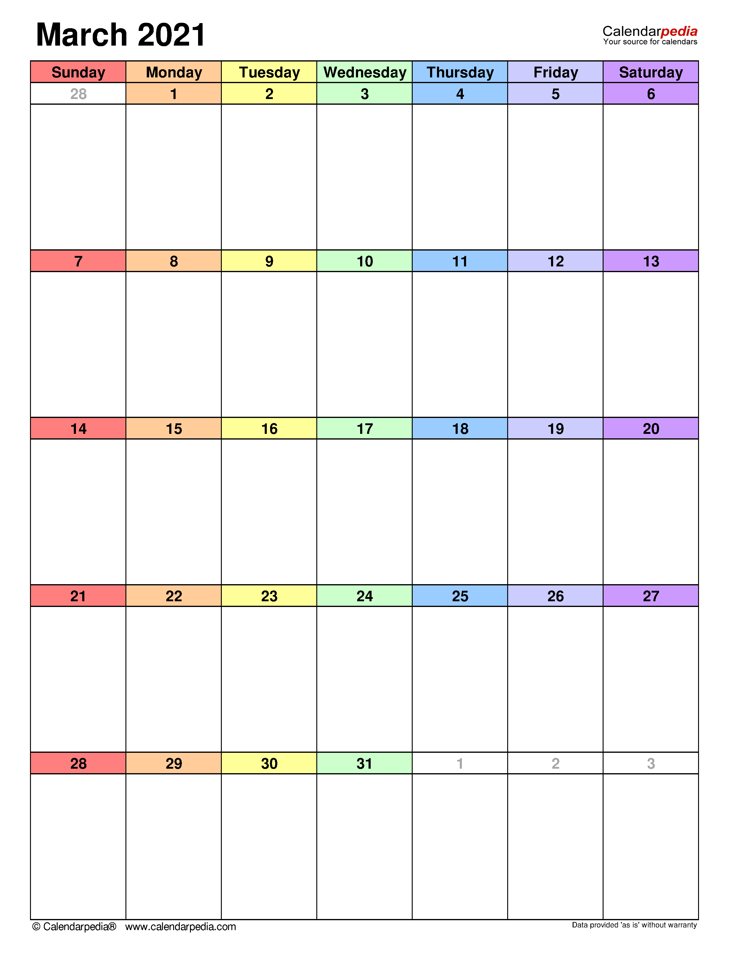 March 2021 Calendar | Templates For Word, Excel And Pdf Throughout March 2021 Calendar Template