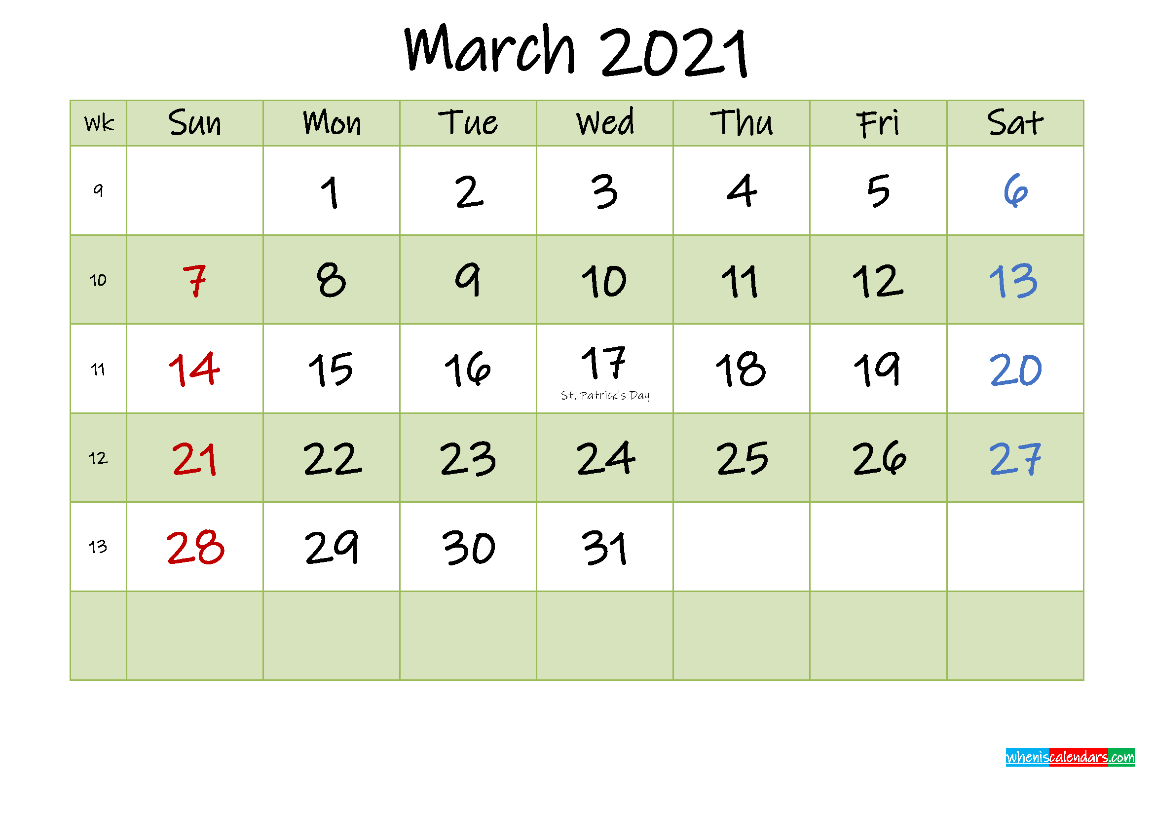 March 2021 Calendar With Holidays Printable – Template No With March 2021 Calendar Template