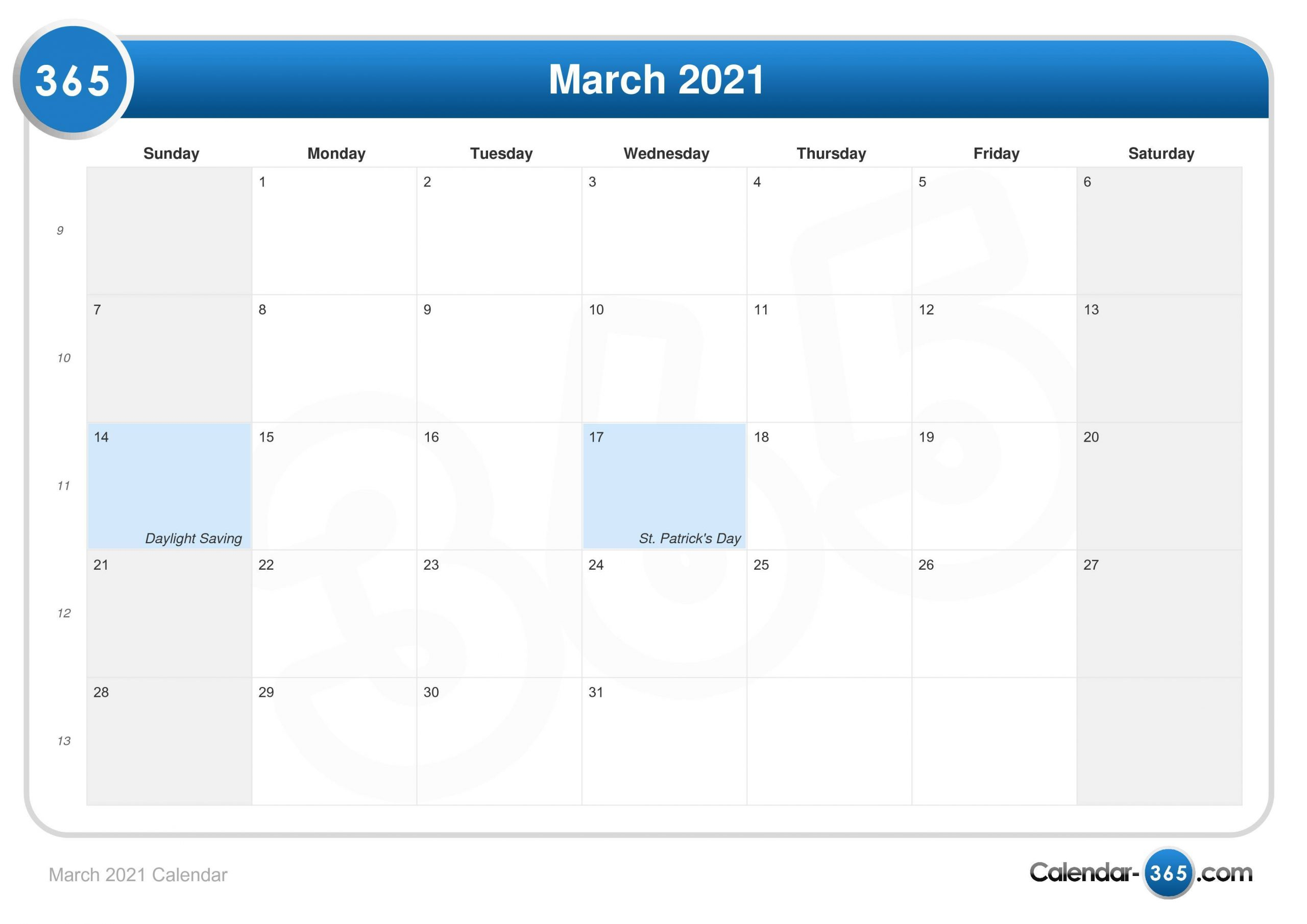 March 2021 Calendar With March 2021 Calendar Images