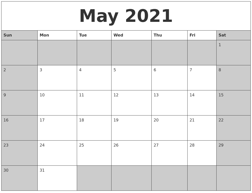 March 2021 Printable Blank Calendar Within January February March April May 2021