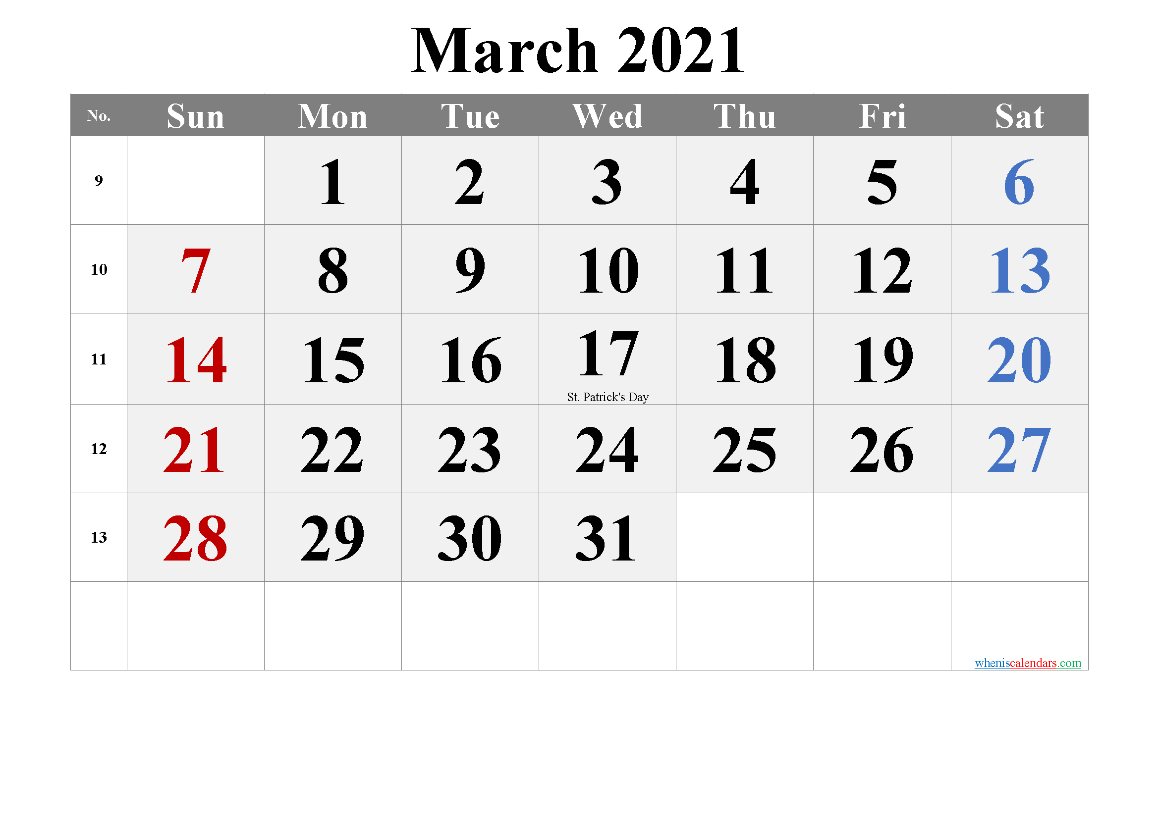 March 2021 Printable Calendar With Holidays - Free Throughout March 2021 Calendar Images