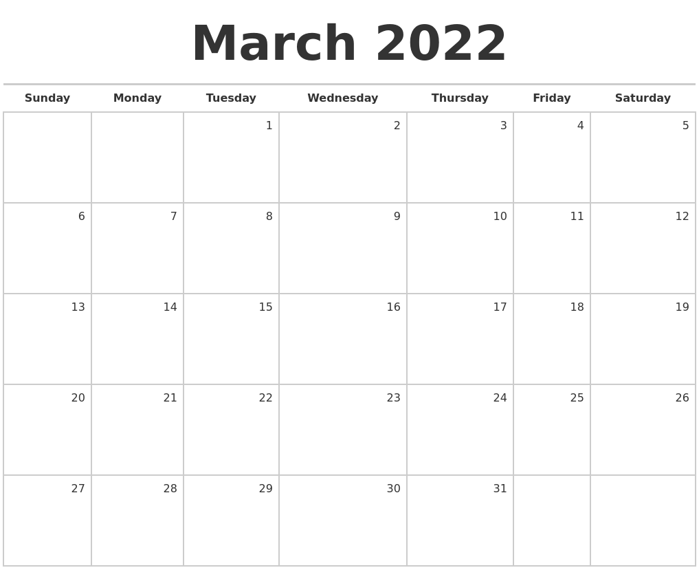 March 2022 Blank Monthly Calendar Pertaining To 2022 March 2 Page Printable Calendar
