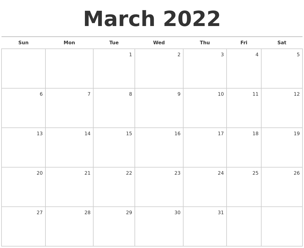 March 2022 Blank Monthly Calendar With Regard To February March April May 2022 Calendar