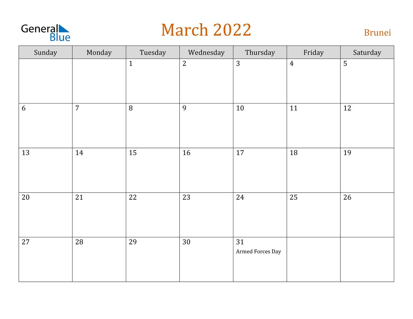 March 2022 Calendar - Brunei Regarding Calendar Of March 2022