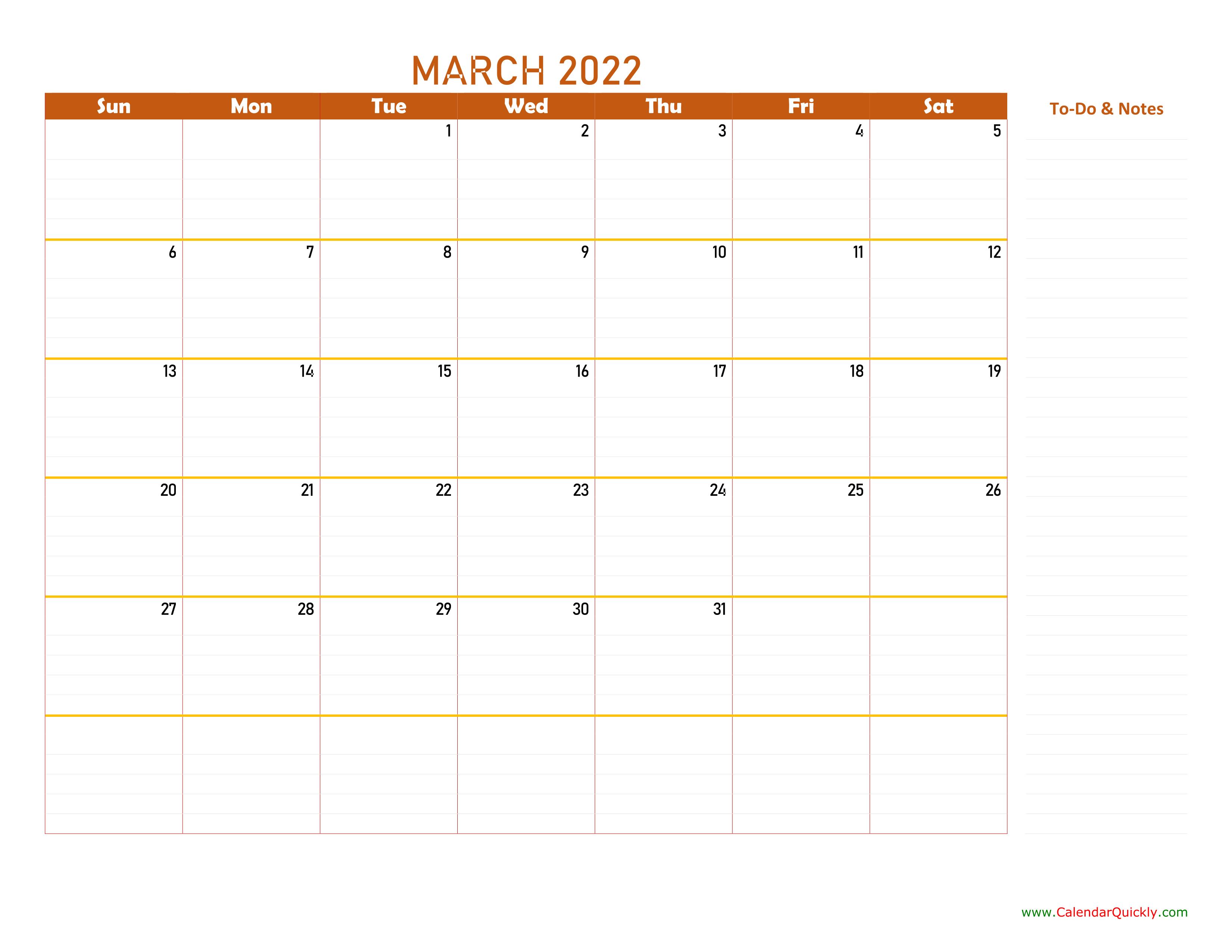 March 2022 Calendar | Calendar Quickly with Print Calendar March 2022
