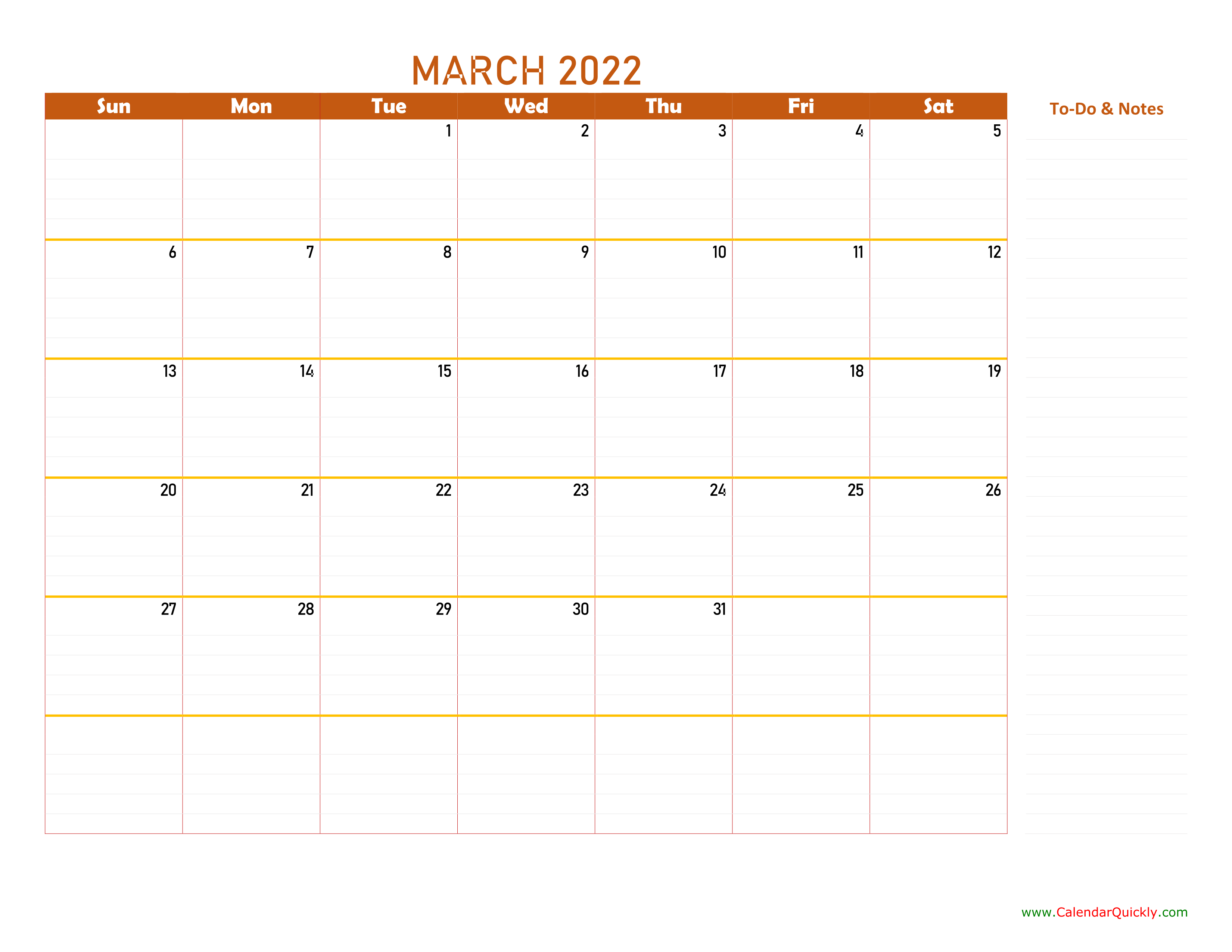 March 2022 Calendar   Calendar Quickly With Regard To February March Calendar 2022