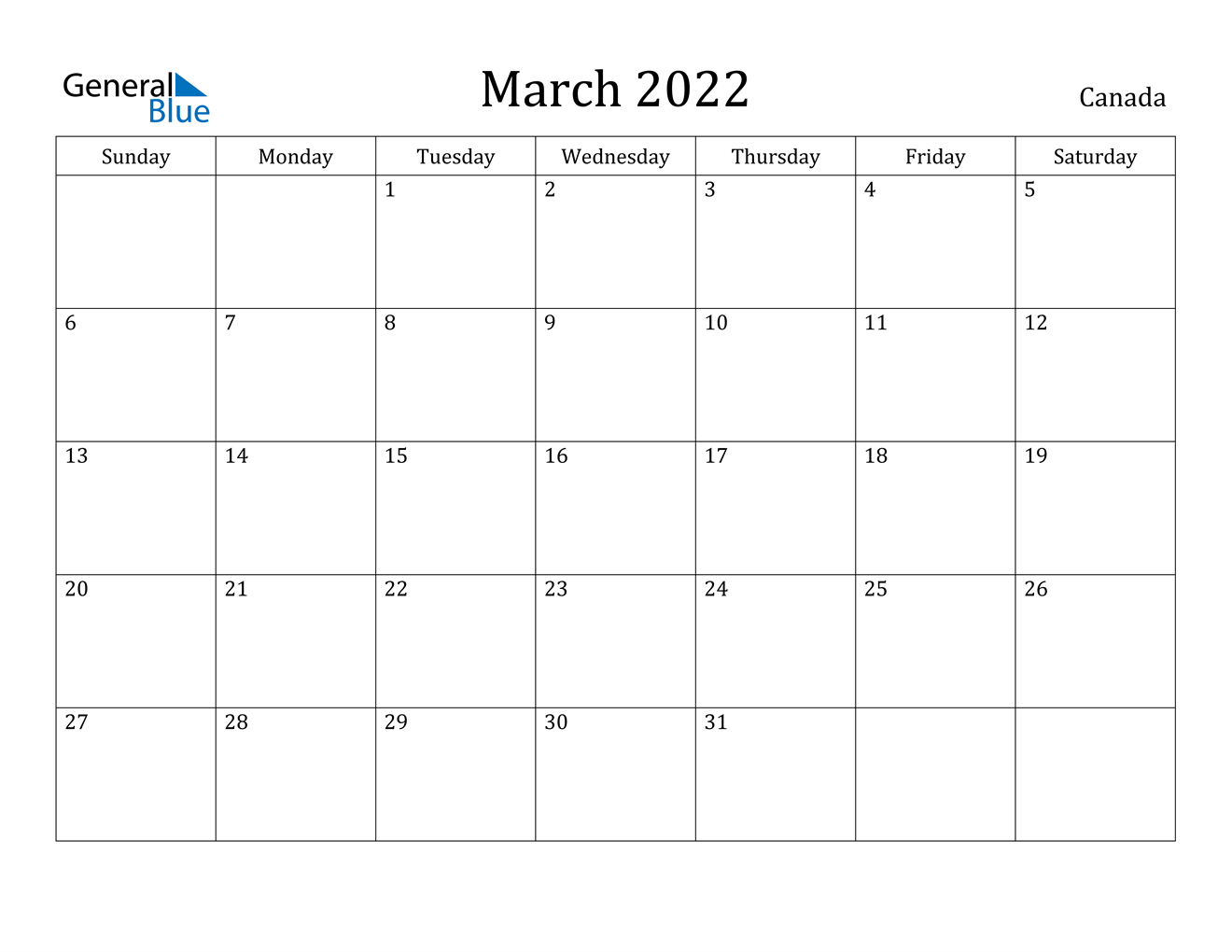 March 2022 Calendar - Canada Intended For Print Calendar January 2022 Fillable Lines