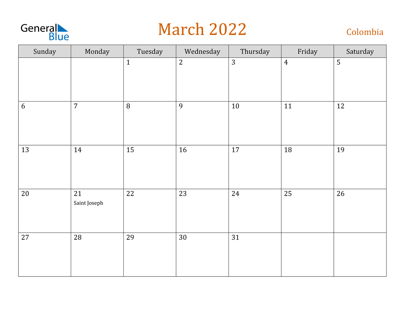 March 2022 Calendar - Colombia with regard to February March Calendar 2022