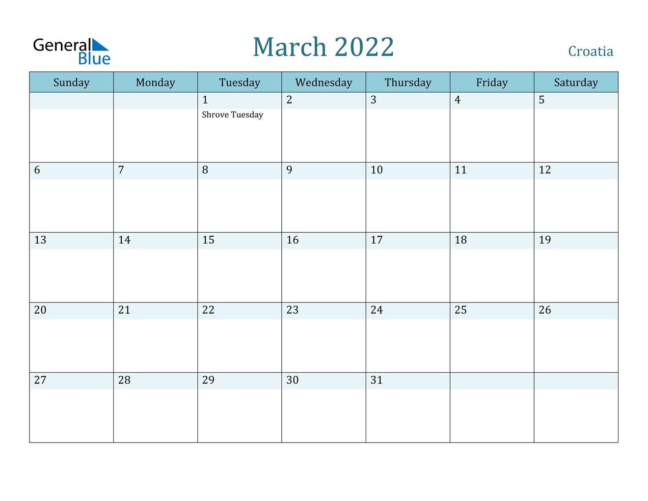 March 2022 Calendar – Croatia In March 2022 Calendar Free Printable