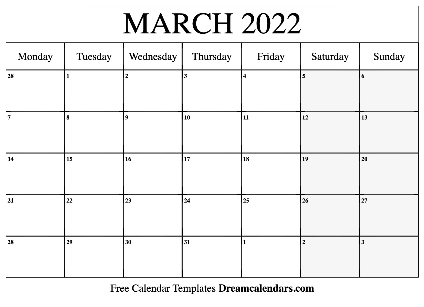 March 2022 Calendar   Free Blank Printable Templates With Regard To February March Calendar 2022