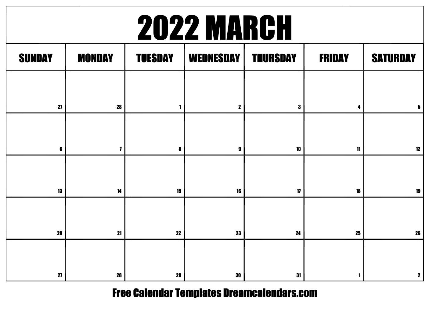 March 2022 Calendar | Free Blank Printable Templates With Regard To March 2022 Calendar Free Printable