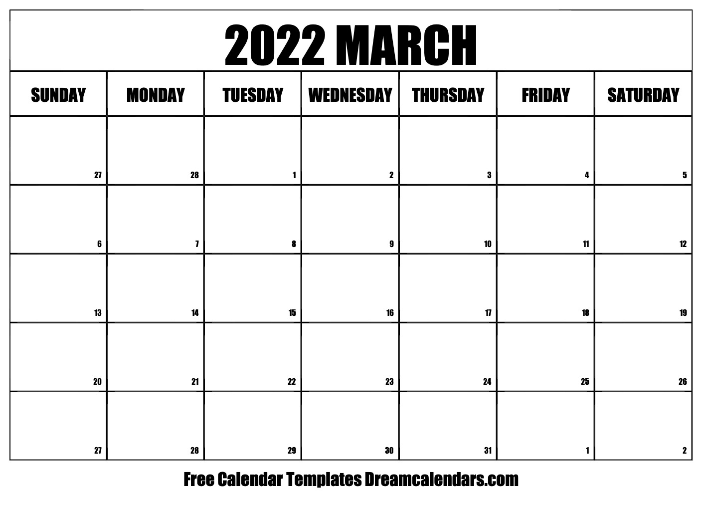 March 2022 Calendar | Free Blank Printable Templates Within 2022 March 2 Page Printable Calendar