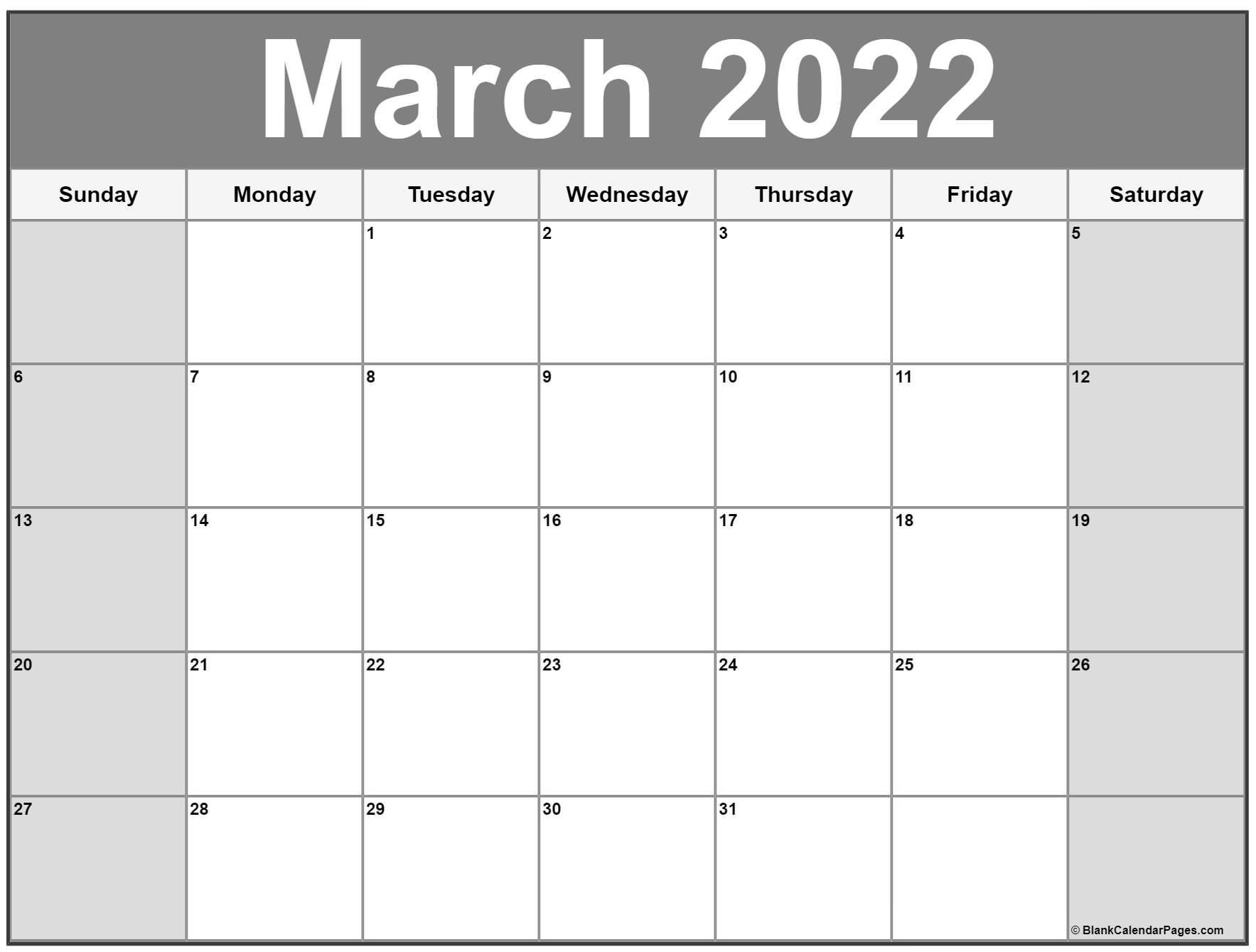 March 2022 Calendar | Free Printable Calendar Templates For Calendar Of March 2022