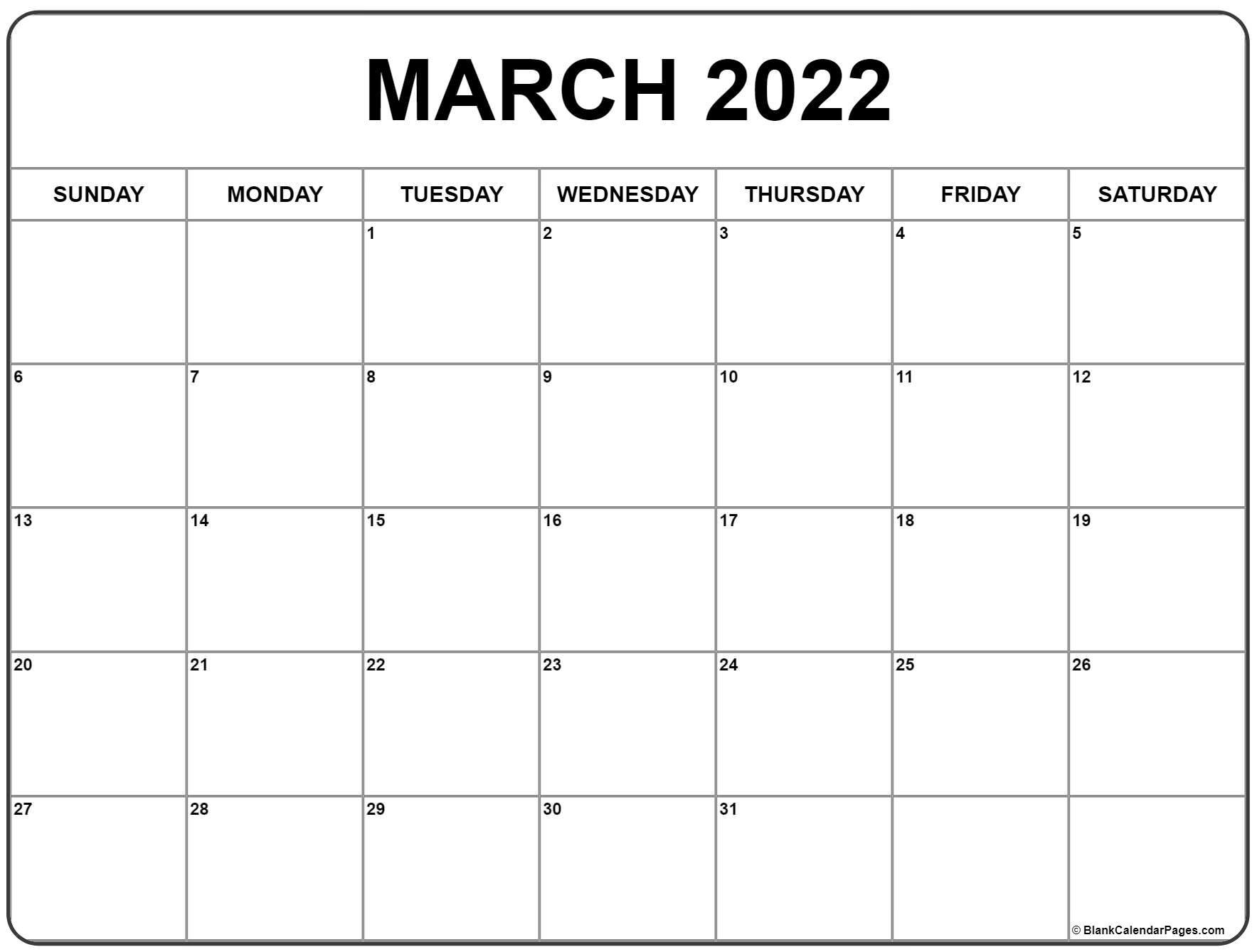 March 2022 Calendar | Free Printable Calendar Templates Pertaining To February March 2022 Calendar