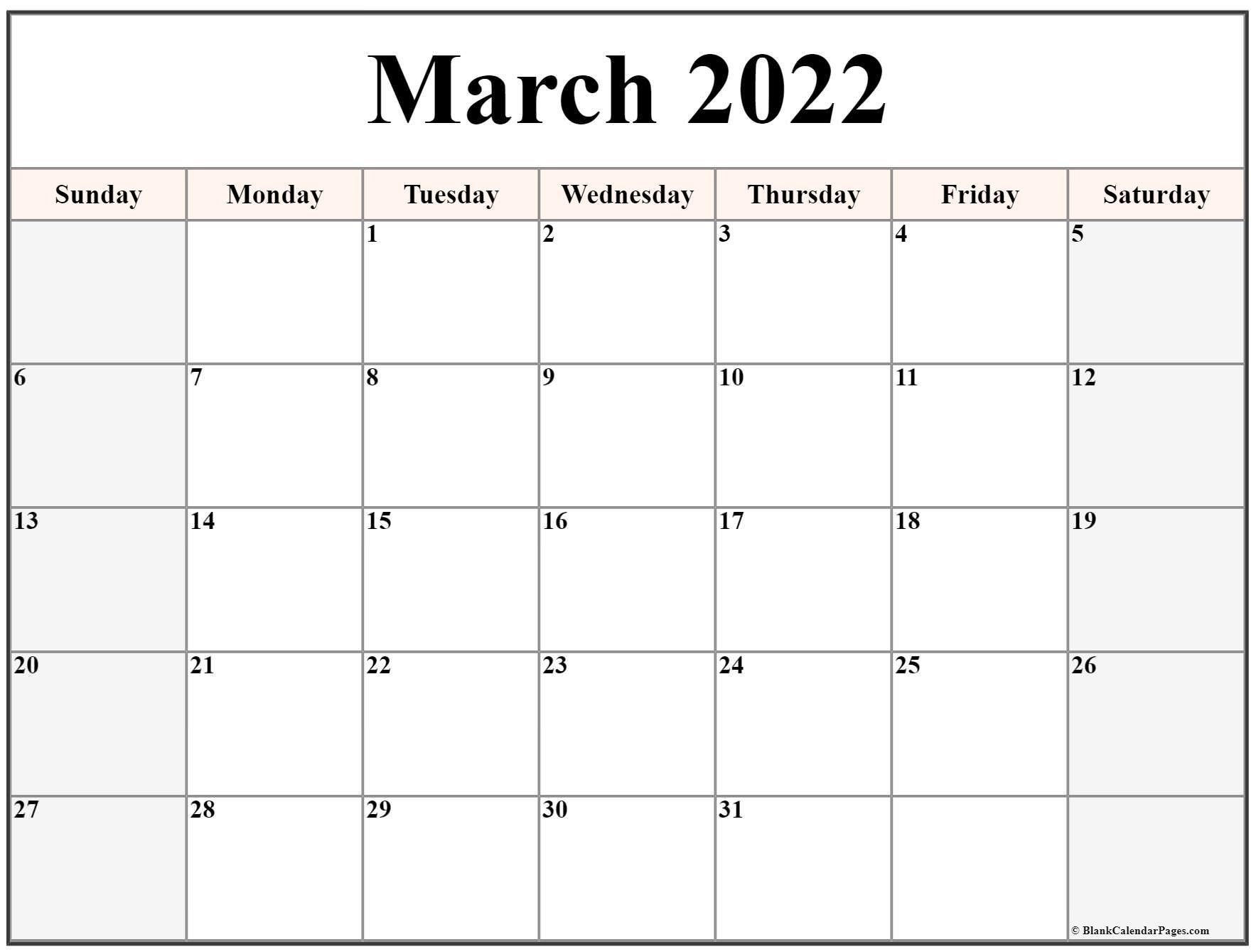 March 2022 Calendar | Free Printable Calendar Templates Pertaining To March April 2022 Calendar Print