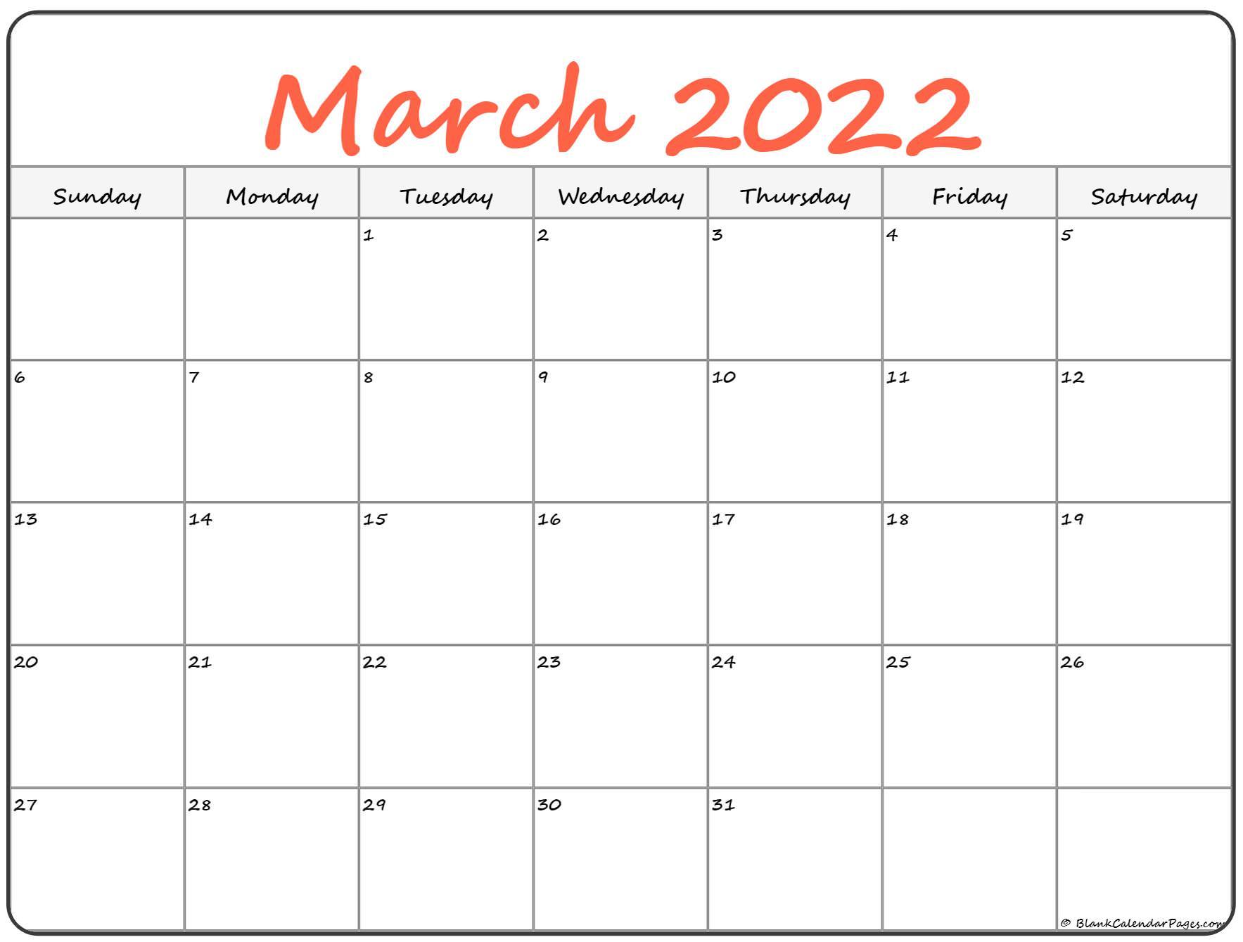March 2022 Calendar | Free Printable Calendar Templates Throughout Calendar Of March 2022