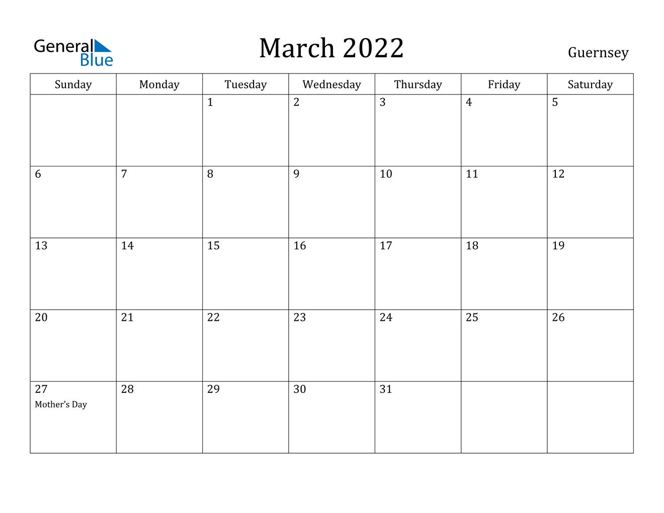 March 2022 Calendar – Guernsey For Calendar Of March 2022