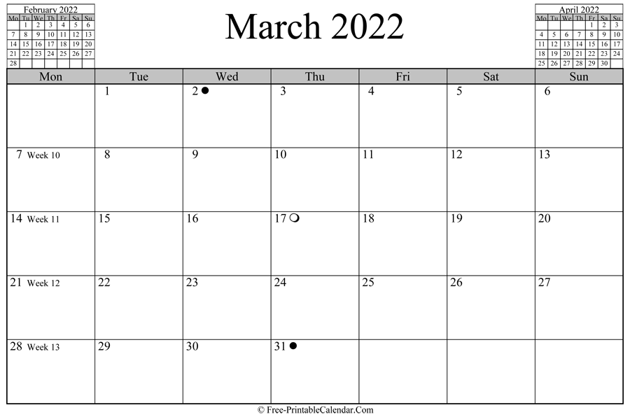 March 2022 Calendar (Horizontal Layout) With Regard To Printable Calendars 2022 March