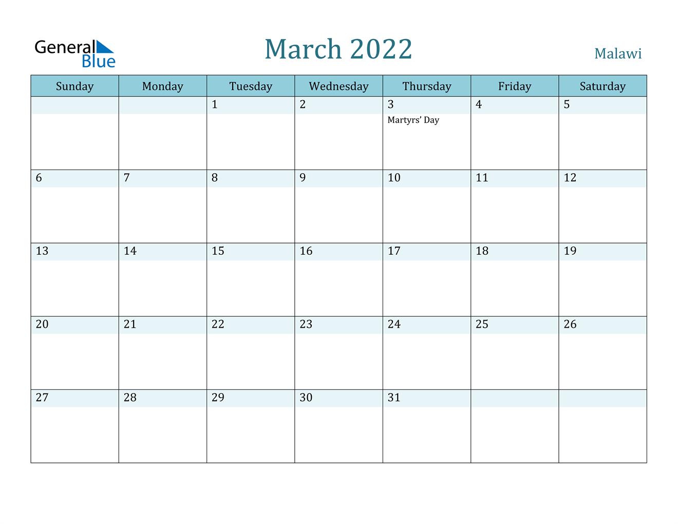 March 2022 Calendar – Malawi Inside March April 2022 Calendar Print
